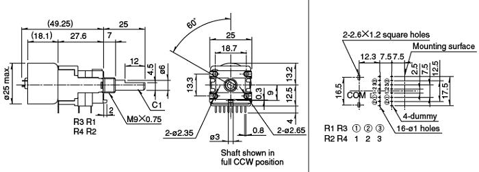 rotary pot 100kax4